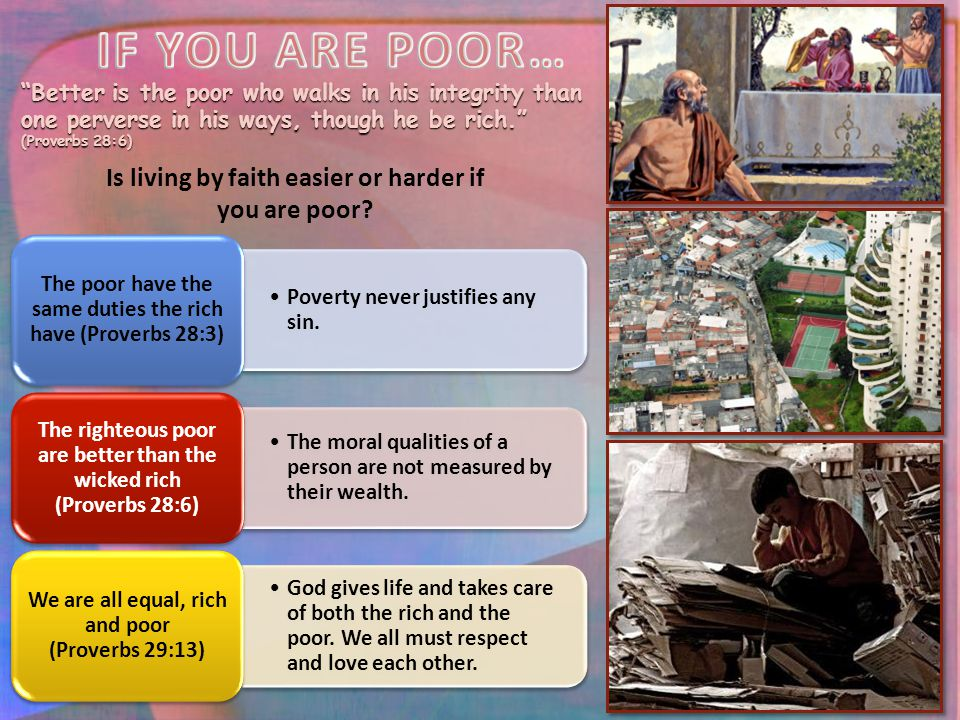 Is living by faith easier or harder if you are poor