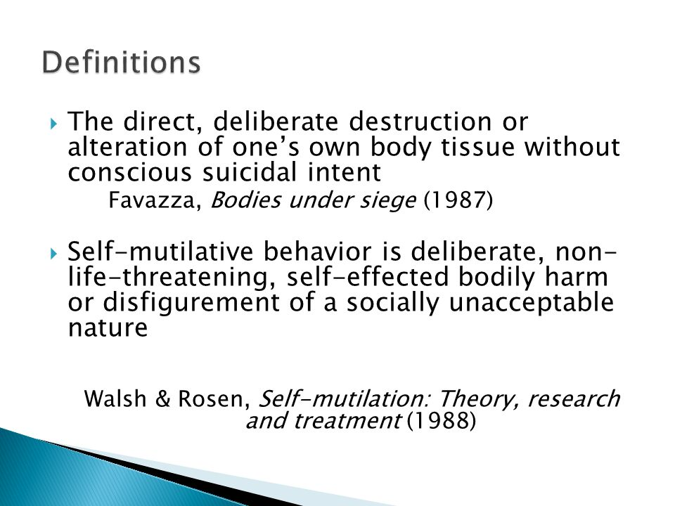 Walsh & Rosen, Self-mutilation: Theory, research and treatment (1988)