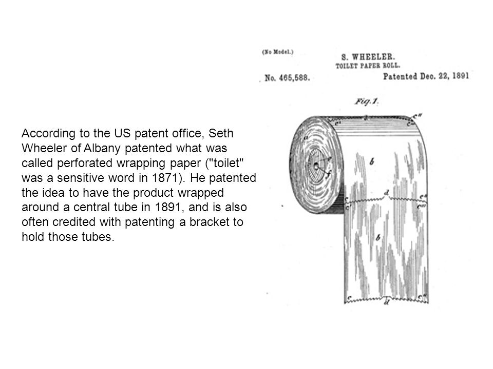 According to the US patent office, Seth Wheeler of Albany patented what was called perforated wrapping paper ( toilet was a sensitive word in 1871).