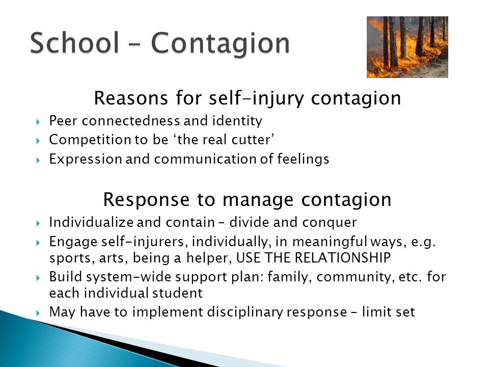 School – Contagion Reasons for self-injury contagion