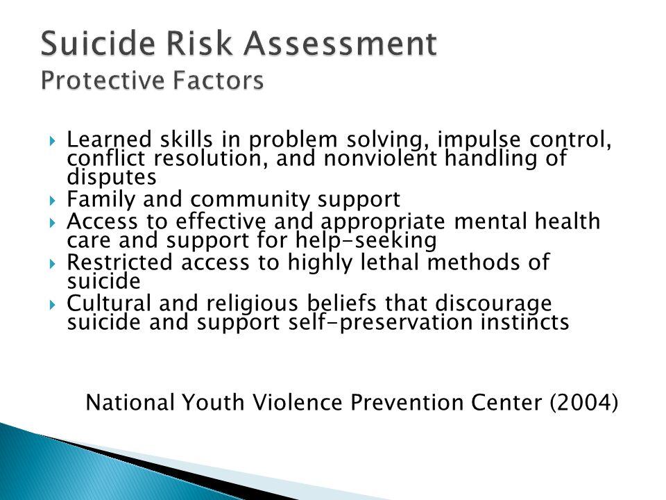 Suicide Risk Assessment Protective Factors
