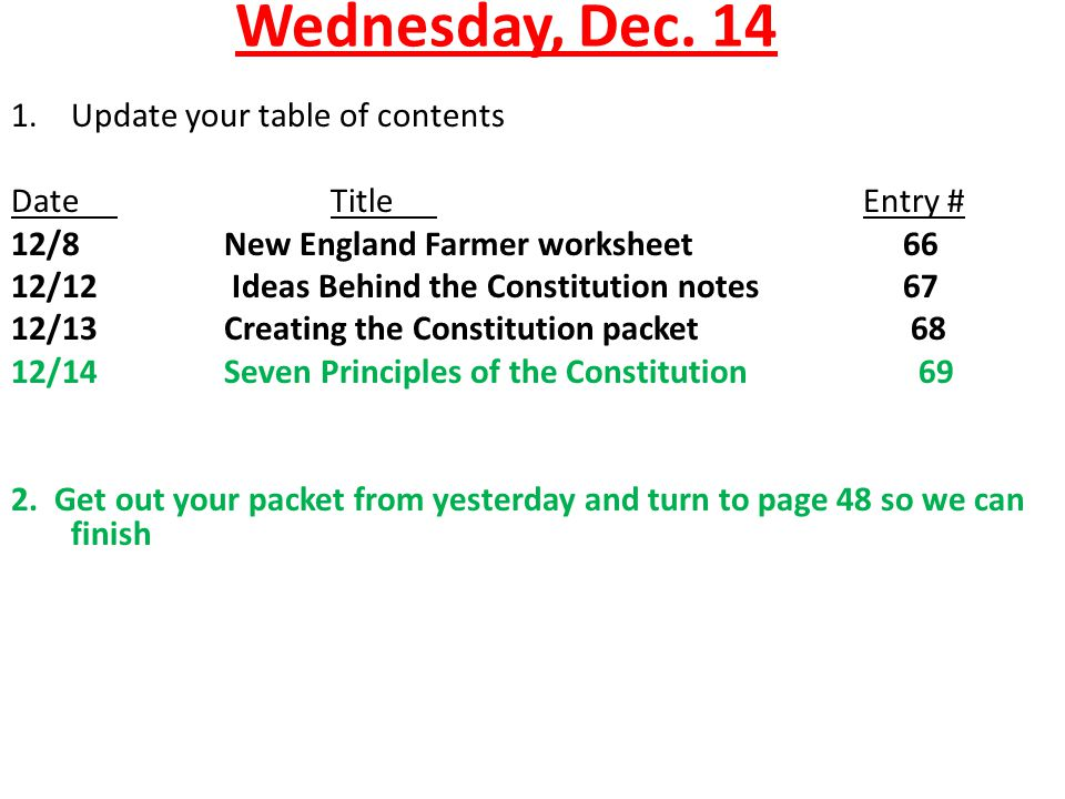 Wednesday Dec 14 Update your table of contents Date Title Entry – Table of Contents Worksheet