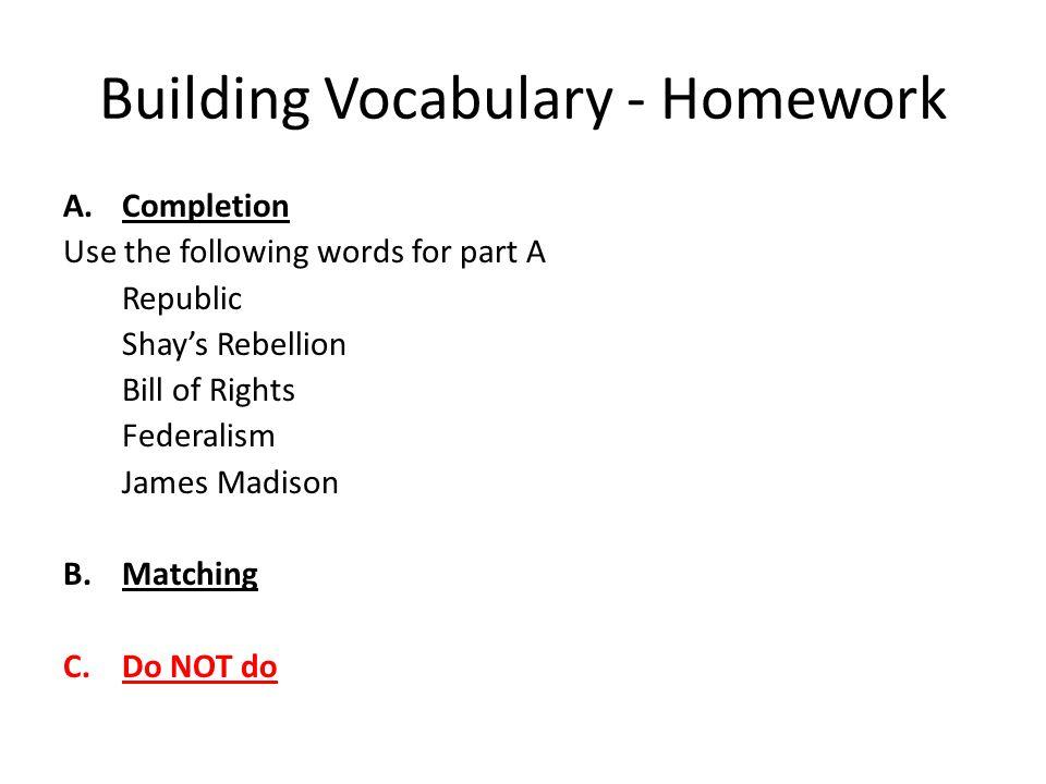 Building Vocabulary - Homework