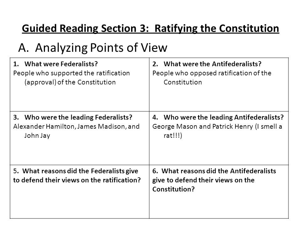 Guided Reading Section 3: Ratifying the Constitution