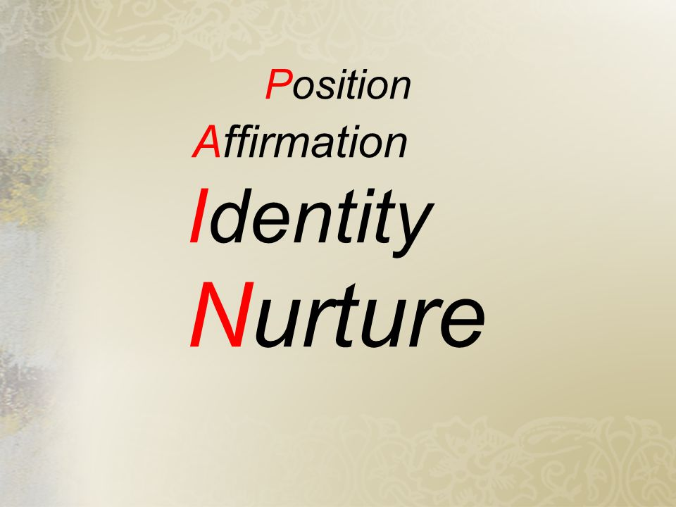 Position Affirmation Identity Nurture