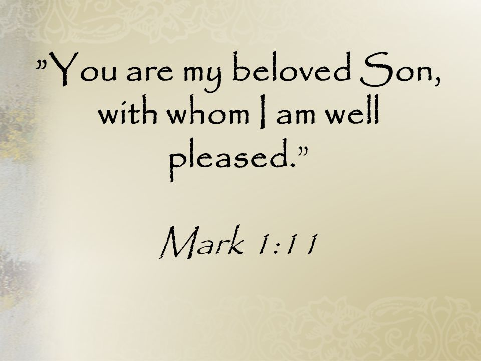 You are my beloved Son, with whom I am well pleased.