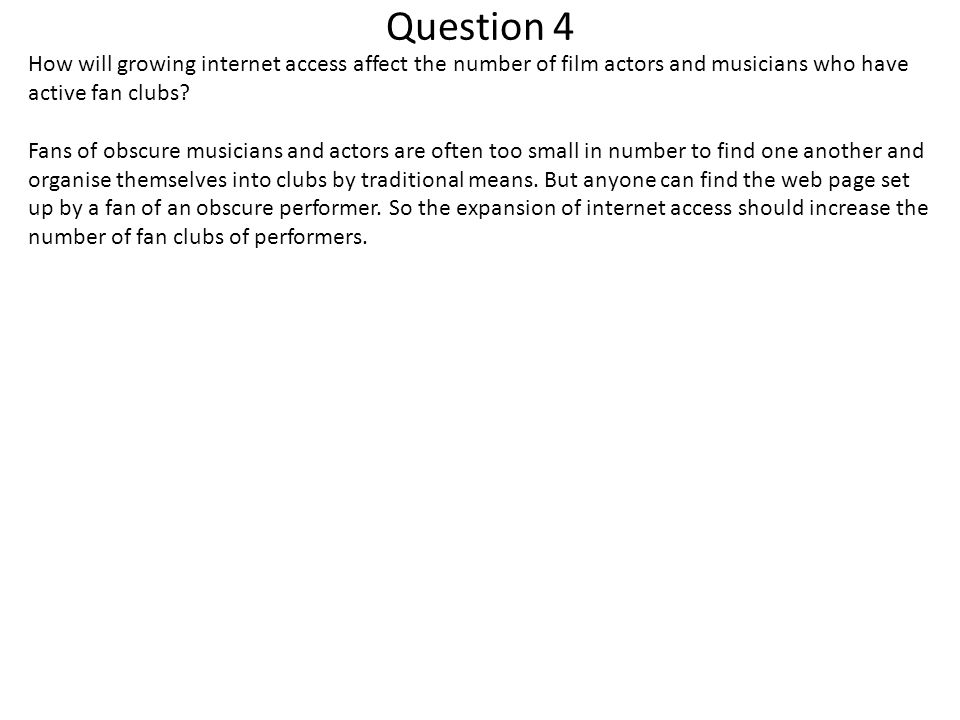 Question 4 How will growing internet access affect the number of film actors and musicians who have active fan clubs