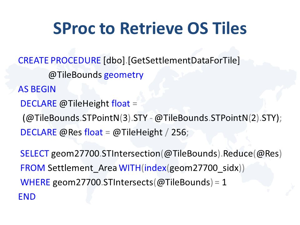 SProc to Retrieve OS Tiles