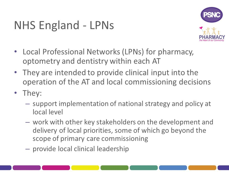 NHS England - LPNs Local Professional Networks (LPNs) for pharmacy, optometry and dentistry within each AT.