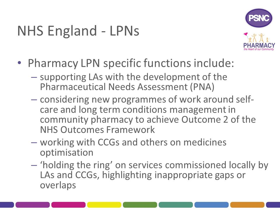 NHS England - LPNs Pharmacy LPN specific functions include: