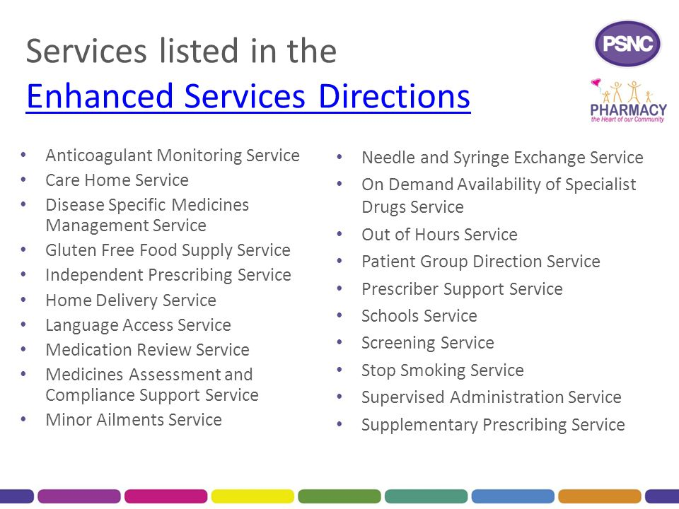 Services listed in the Enhanced Services Directions
