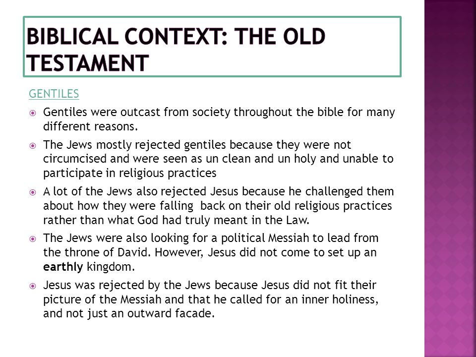 Biblical context: the Old testament