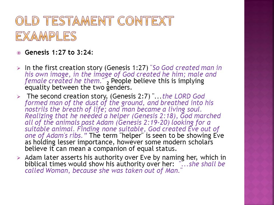 Old testament context examples