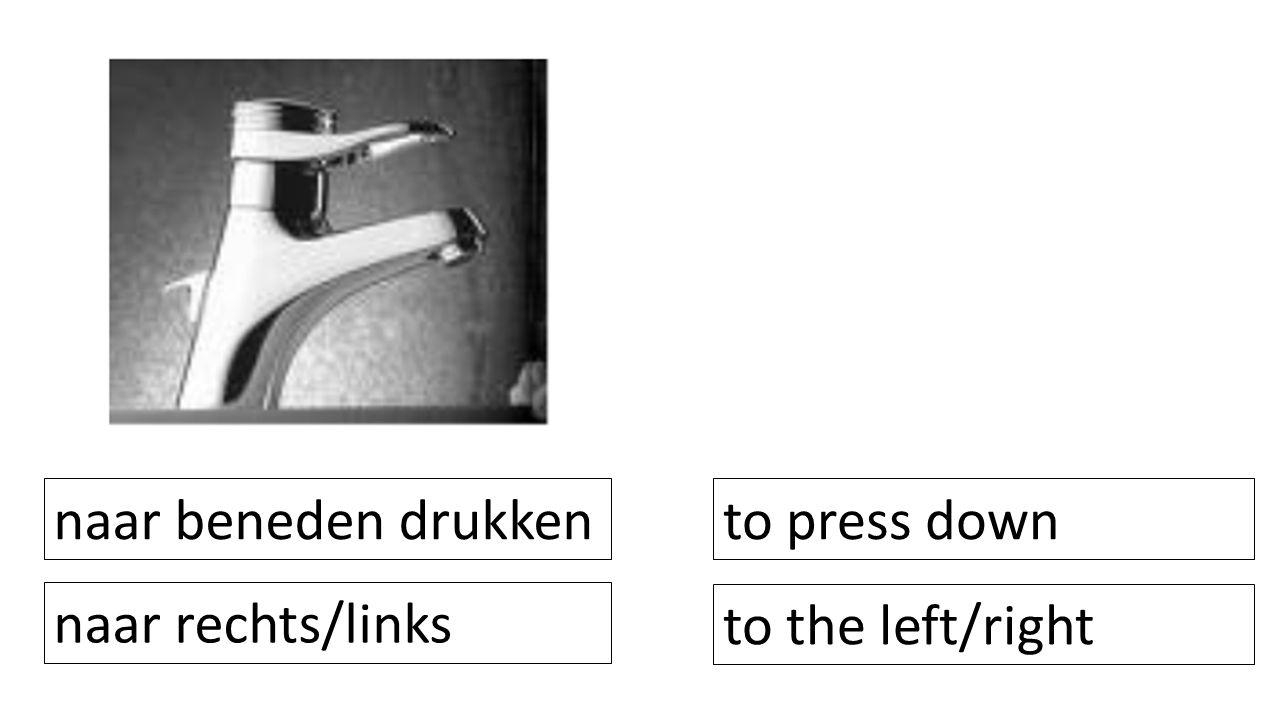 naar beneden drukken to press down naar rechts/links to the left/right