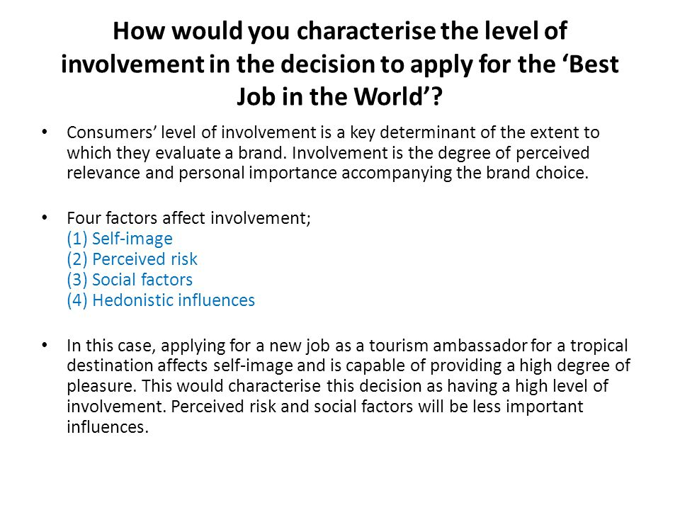 How would you characterise the level of involvement in the decision to apply for the 'Best Job in the World'