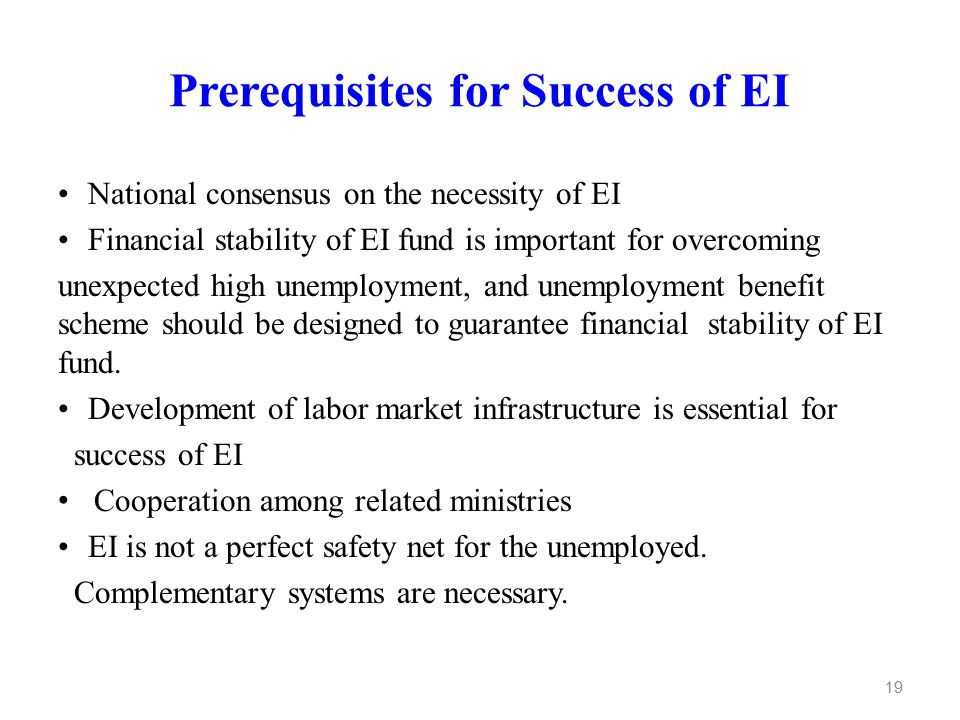 Prerequisites for Success of EI