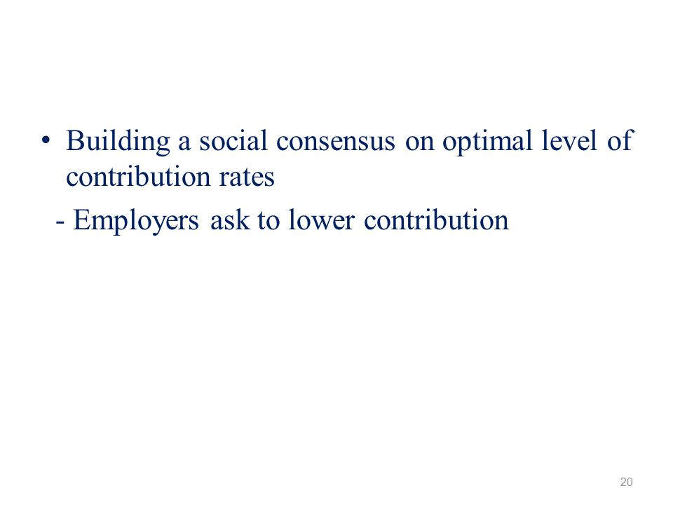 Building a social consensus on optimal level of contribution rates