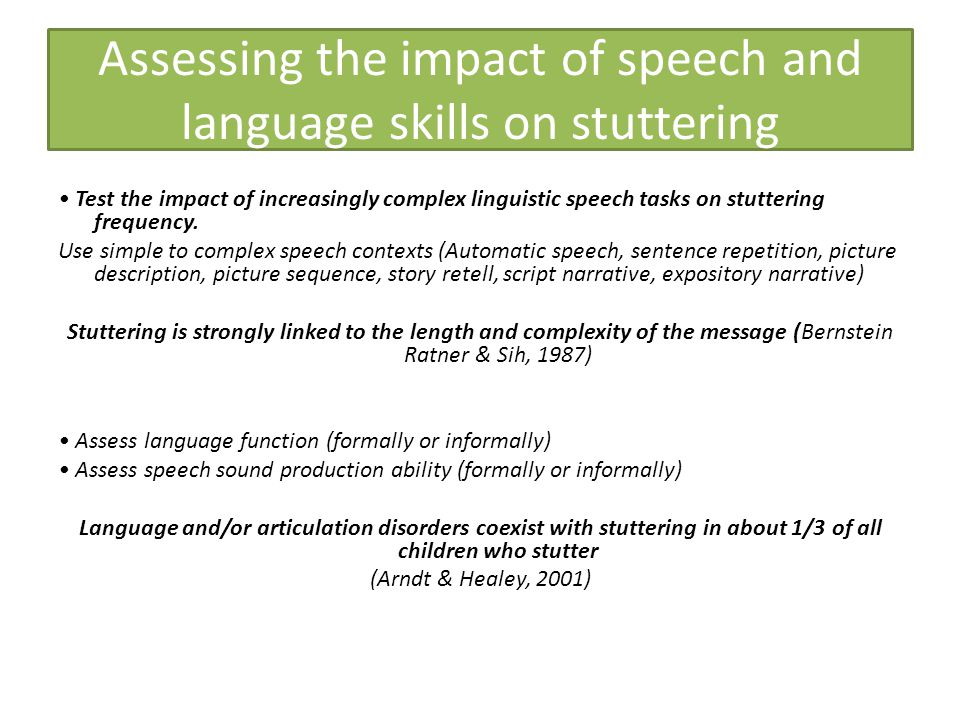 Assessing the impact of speech and language skills on stuttering