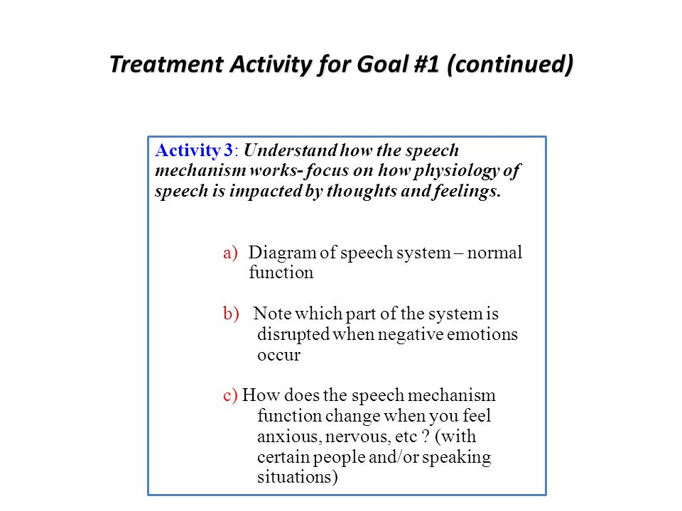 Treatment Activity for Goal #1 (continued)