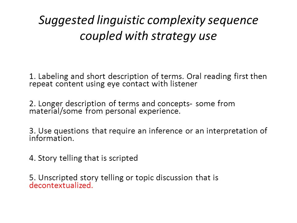 Suggested linguistic complexity sequence coupled with strategy use