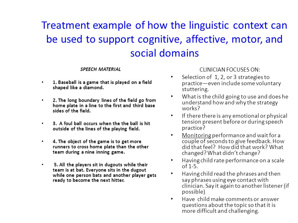 Treatment example of how the linguistic context can be used to support cognitive, affective, motor, and social domains