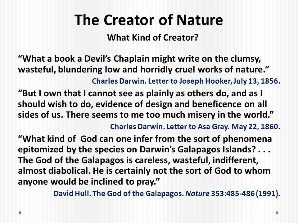 The Creator of Nature What Kind of Creator