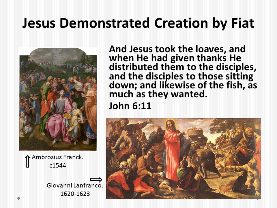 Jesus Demonstrated Creation by Fiat