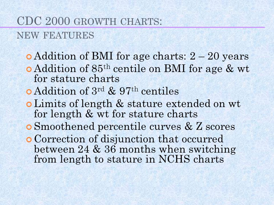 CDC 2000 growth charts: new features