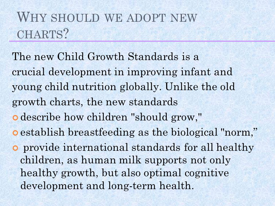 Why should we adopt new charts