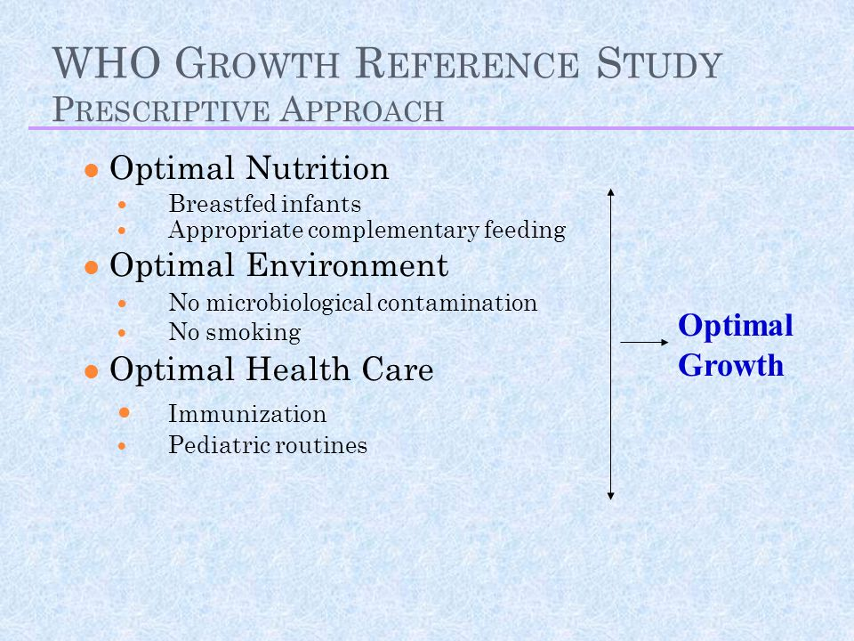 WHO Growth Reference Study Prescriptive Approach