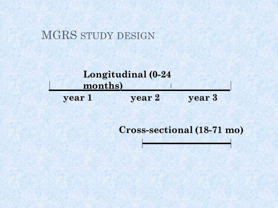 MGRS study design Longitudinal (0-24 months) year 1 year 2 year 3