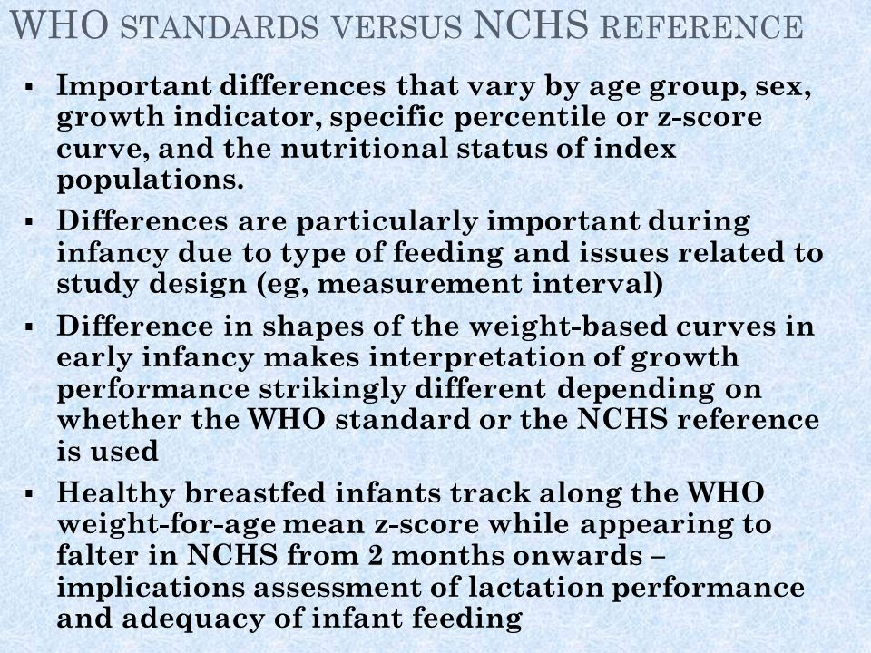 WHO standards versus NCHS reference