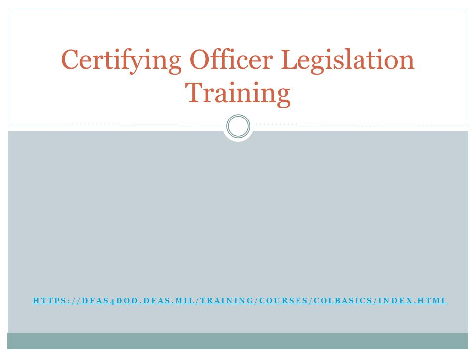 Certifying Officer Legislation Training