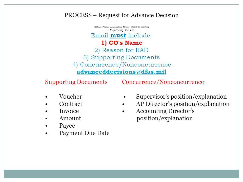 PROCESS – Request for Advance Decision