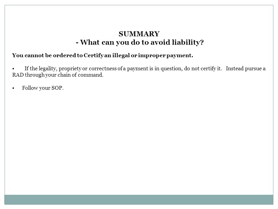 - What can you do to avoid liability