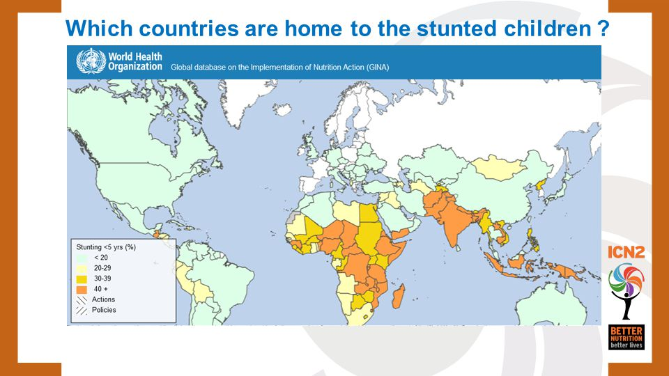 Which countries are home to the stunted children