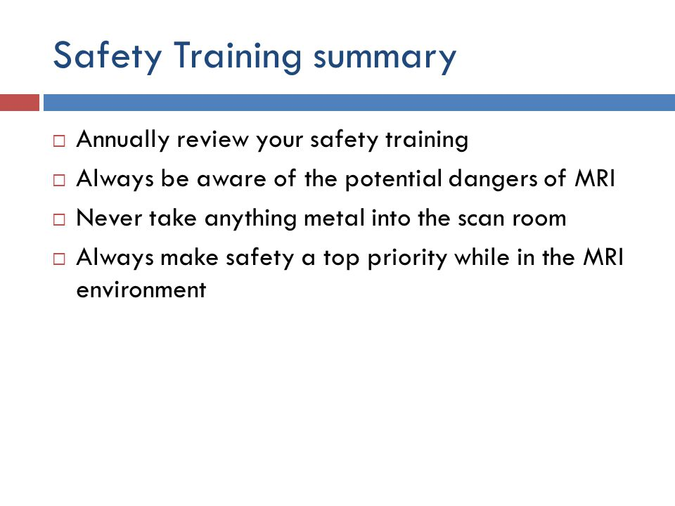 Safety Training summary