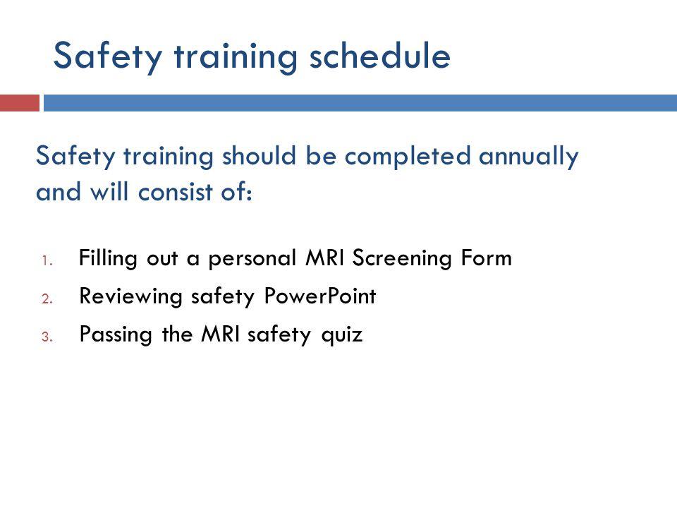 Safety training schedule