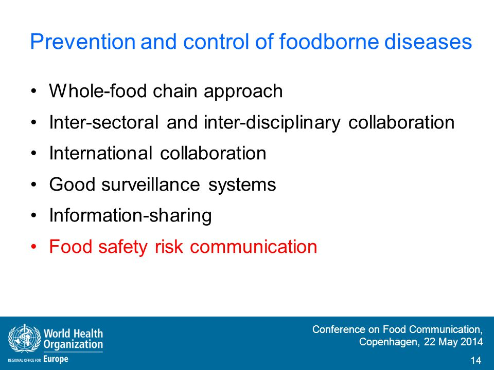 Prevention and control of foodborne diseases