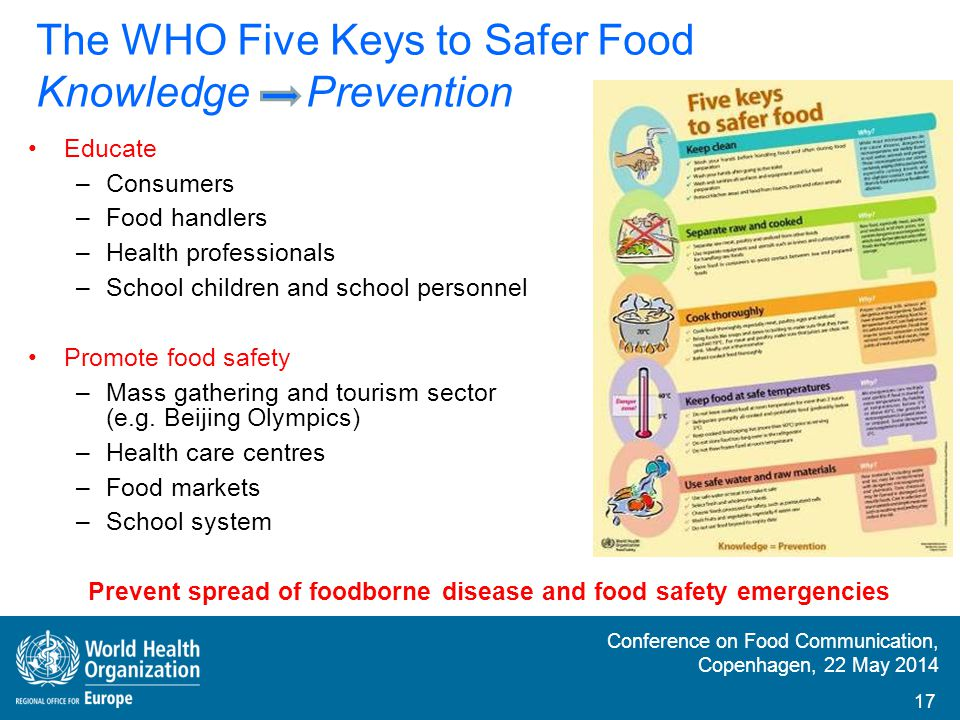 The WHO Five Keys to Safer Food Knowledge Prevention