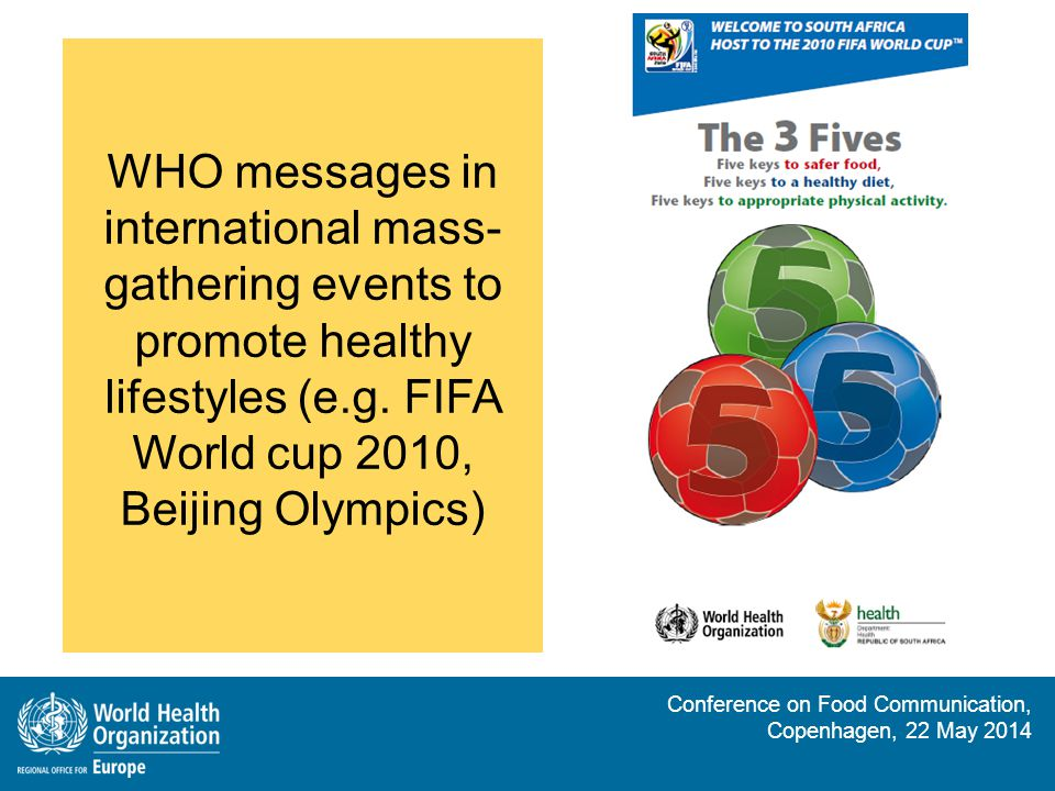WHO messages in international mass-gathering events to promote healthy lifestyles (e.g. FIFA World cup 2010, Beijing Olympics)