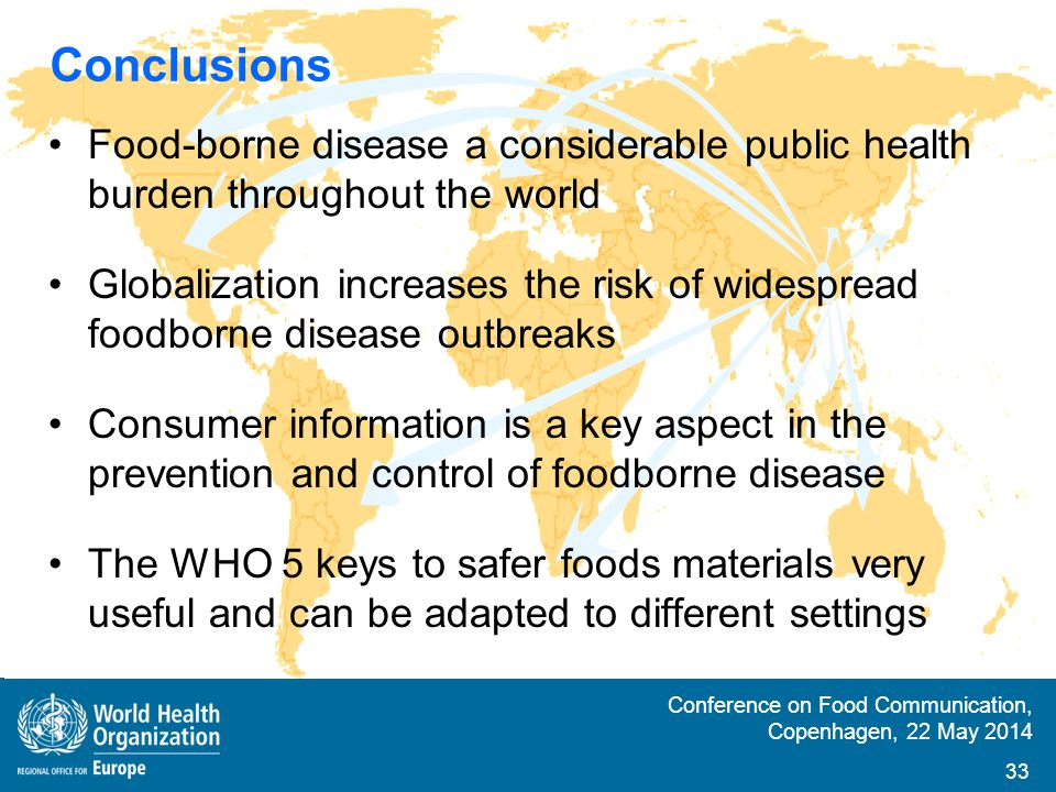 Conclusions Food-borne disease a considerable public health burden throughout the world.