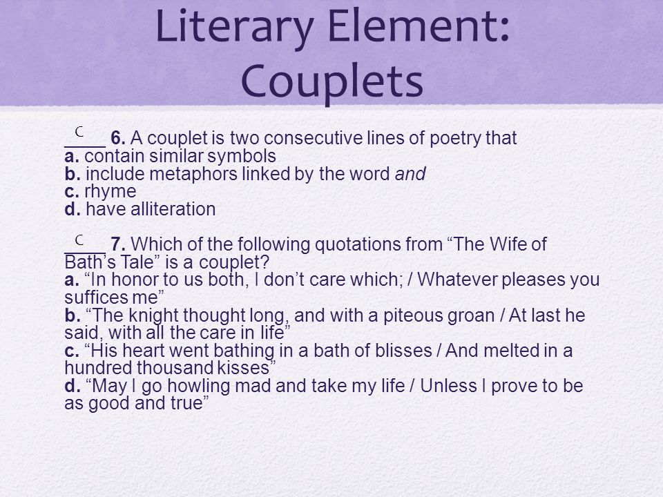 Literary Element: Couplets