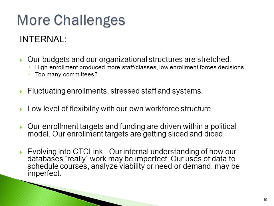 More Challenges INTERNAL: