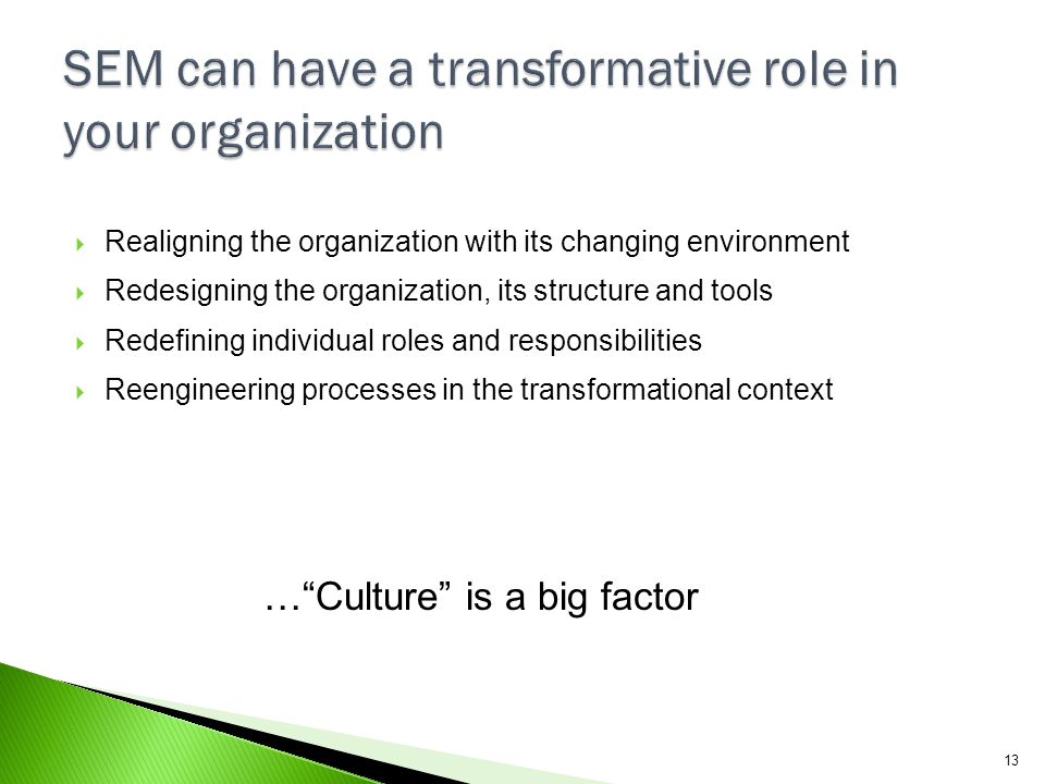 SEM can have a transformative role in your organization