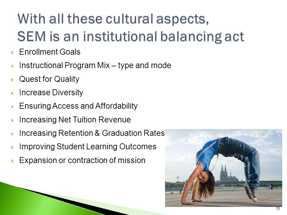 With all these cultural aspects, SEM is an institutional balancing act