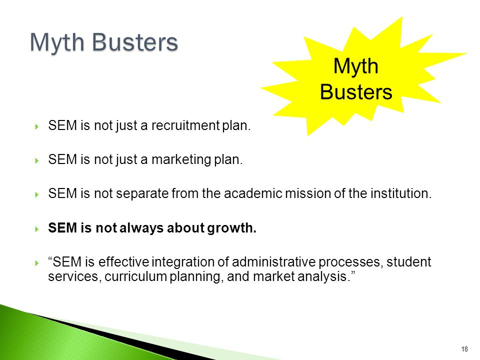 Myth Busters Myth Busters SEM is not just a recruitment plan.