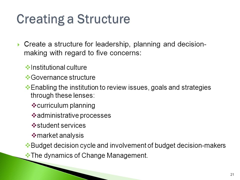 Creating a Structure Create a structure for leadership, planning and decision- making with regard to five concerns: