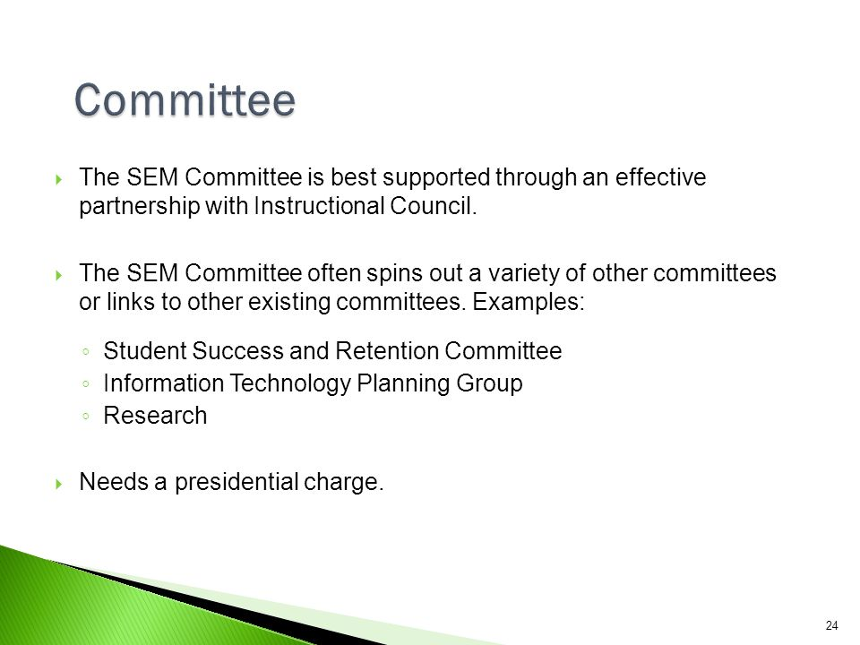 Committee The SEM Committee is best supported through an effective partnership with Instructional Council.
