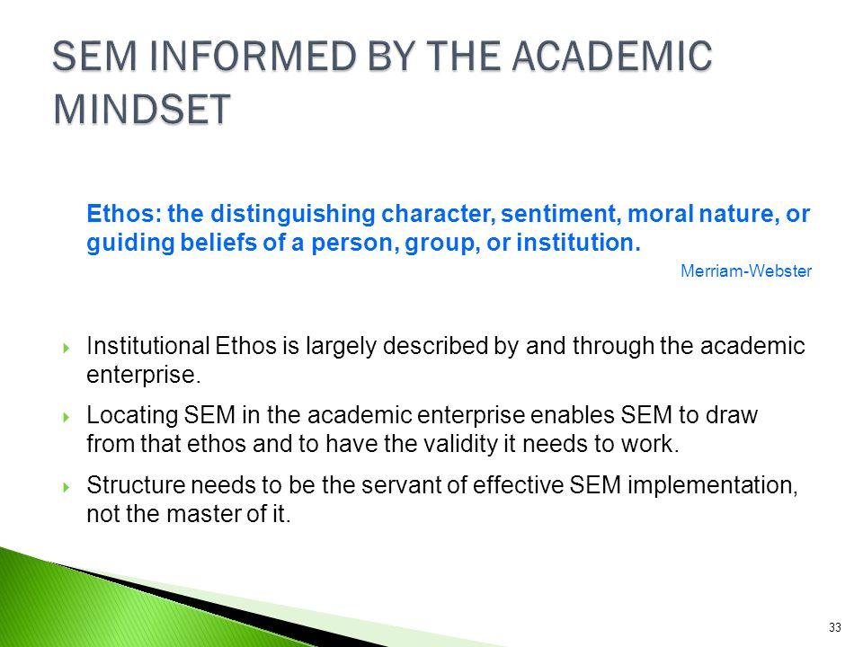 SEM INFORMED BY THE ACADEMIC MINDSET